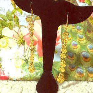 "Jewelry - Gold Etruscan style earrings new. Beautiful 3"" fab"